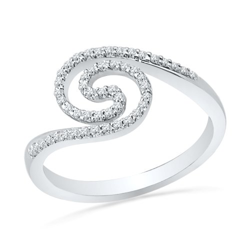 Sterling Silver Round Diamond Twisted Fashion Circle Ring (1/5 Cttw)