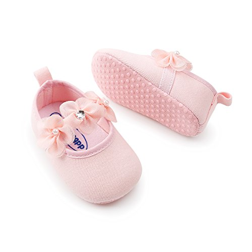 Baby Girls Mary Jane Flats Sparkly Soft Sole Infant Crib Shoes with Headband by RVROVIC (Image #4)