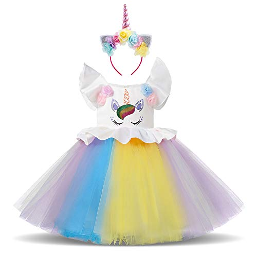 Girls Rainbow Unicorn Dress up Costume Flutter Sleeve Top Dress Shiny Ruffle Tulle Skirt + Flower Horn Headband Kids Birthday Party Outfit 2Pcs Set for Halloween Xmas Photo Shoot Cosplay White 2-3Y