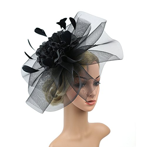 Merya Dress Kentucky Derby Fascinator Hats Feather Prom Cocktail Tea Party Hat Black-AA by Merya Dress (Image #2)