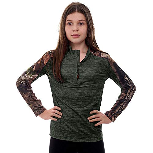 Shadow Half Zip Pullover - TrailCrest Kid's Mossy Oak Camo Impulse 1/4 Zip Performance Top Moisture Wicking, 4 Way Stretch Perfect Outwear and Fitness Apparel, Olive Heather / Breakup Country, Small