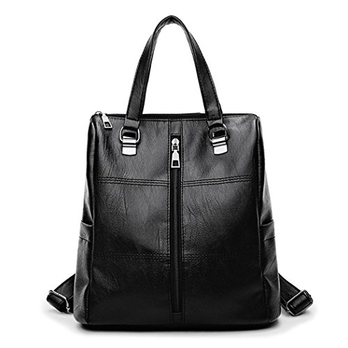 Shoppers bolsos Bolsos de hombro de Fekete Bolsos Bolsas bandolera PU Mujer escolares DEERWORD Cuero mochila y qFzx0wqf