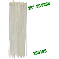 """Long Heavy Duty 26 Inch Nylon Zip Cable Ties Clear-Large 200 LBS Tensile Strength-Heavy Duty Industrial Durable Strong Cable Ties- 50 Pack - Indoor Outdoor Garden Use(26"""" ,200LB, White)"""