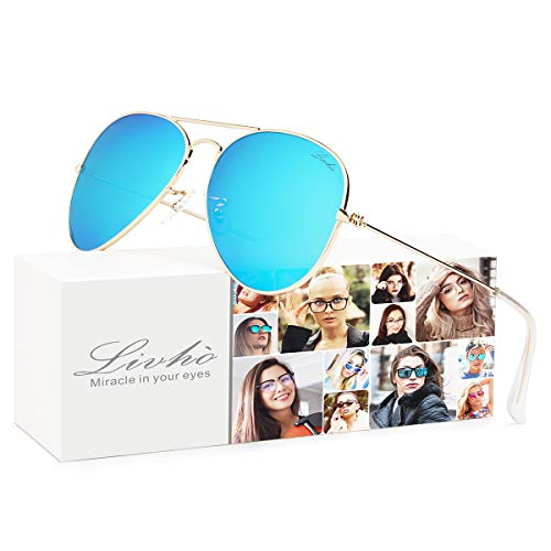 - LIVHO Classic Aviator Sunglasses for Women Men Polarized,Metal Frame Mirror UV Lens Protection(Gold Deep Blue, 58)