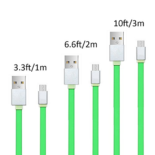 Android Charge USB Cable, Hankuke [Soft Flat TPE Material] USB to Micro USB High Speed Cables Bundles of 3ft 6ft and 10 ft Sync&Charge Cord Wire for Samsung, HTC, Motorola, (Garmin 10' Extension Cable)