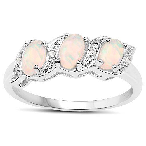 The Diamond Ring Collection: Sterling Silver Genuine Opal & Diamond...
