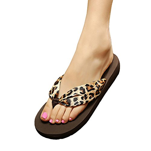 MAIERNISI JESSI Women's Floral Summer Satin Wedge Flip Flops Leopard 36 - US (Leopard Satin Sandals)