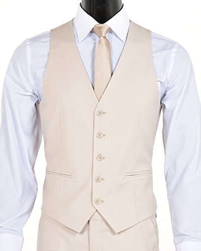 King Formal Wear Men's Slim Fit Two Button Three Piece Suit (Light Tan, 40Short)