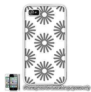 Gray Grey Sun Bursts Pattern Apple iPhone 4 4S Case Cover Skin White