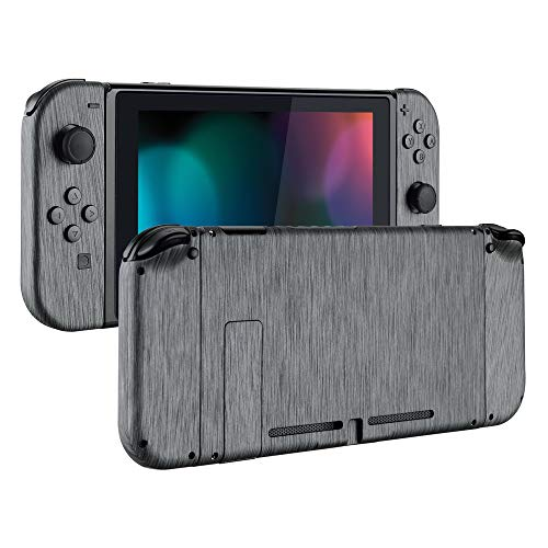 eXtremeRate Soft Touch Grip Back Plate for Nintendo Switch Console, NS Joycon Handheld Controller Housing with Full Set Buttons, DIY Replacement Shell for Nintendo Switch - Brushed Silver Patterned