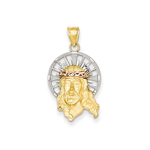 14K Three Tone Gold D/C Head of Jesus Christ Charm (1.1IN long x 0.6IN (Jesus Christ Head)