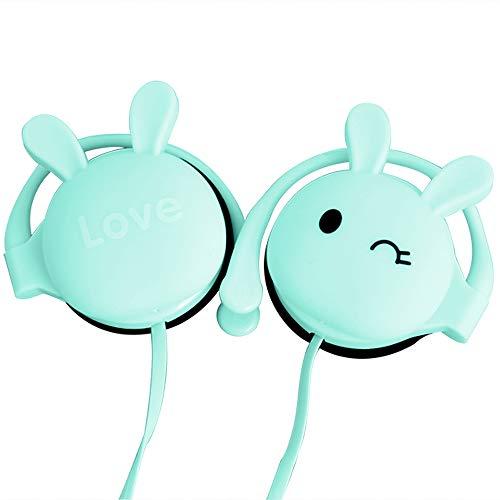 KN313 かわいいウサギ耳のイヤホン ヘッドフォン 高音質 重低音 オープン型オンイヤーヘッドホン 有線3.5 mm 耳掛け式 ヘッドセット 耳かけ マイク付き 遮音 Androidスマホ/タブレット/ノートPC用 スポーツ 音楽 携帯用 軽量 女の子/子供のギフト 青