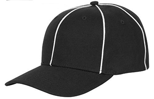 Pro Style Flex Fit Black and White Football Referee Cap (Large-X-Large)