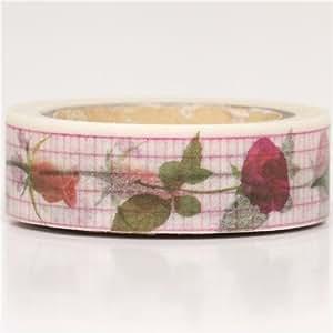 Cinta adhesiva decorativa Washi blanca cuadricula flores