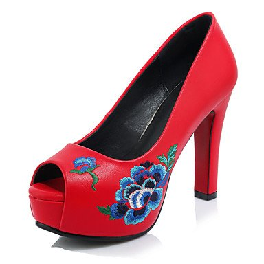 Talones de las mujeres Zapatos Primavera Verano Otoño Club de microfibra Oficina boda y vestido de la carrera tacón grueso Flor Negro Rojo Blanco White