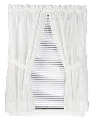 Bay Breeze Semi Sheer Stripe Curtain Panel Pair 72