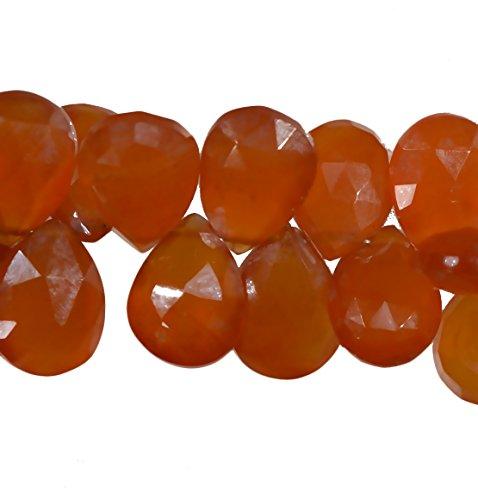 Carnelian Briolette Pear Facet Beads .016