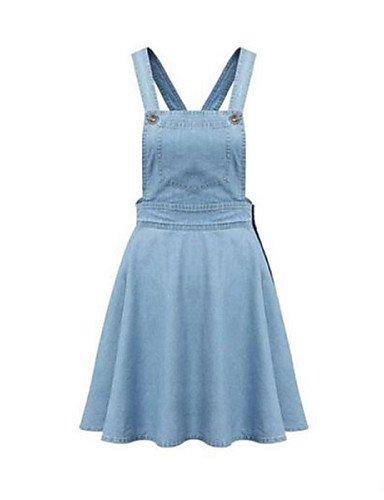 PU&PU Robe Aux femmes Ample Vintage,Couleur Pleine A Bretelles Au dessus du genou Nylon , blue-m , blue-m