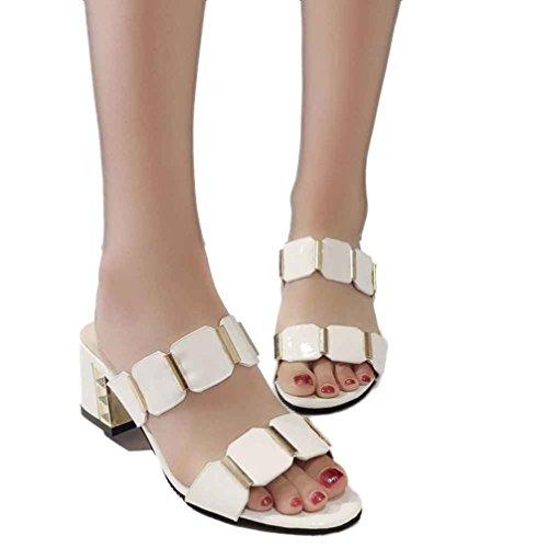 Blanco la las deslizador mujeres mujeres para de alto de de del manera 1Pair playa Verano sandalias tacón Las Transer sandalias zapatos de 2017 las ocasionales 7zUqwxCS