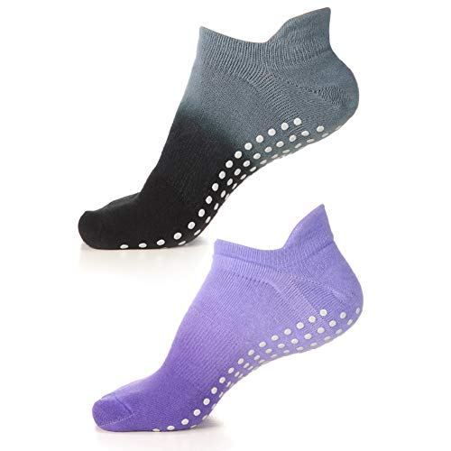 Yoga Socks Non Slip Skid Pilates Barre Workout Socks With Grips For Women 2 Pairs Grey&Purple