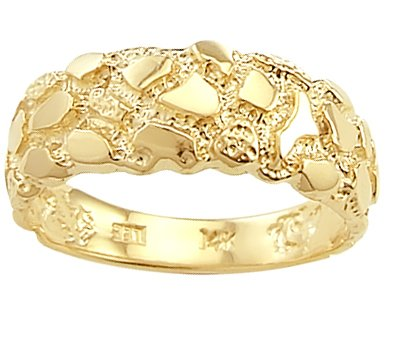 14k Gold Nugget Band Ring - Men's Nugget Band 14k Yellow Gold Fashion Ring, Size 5