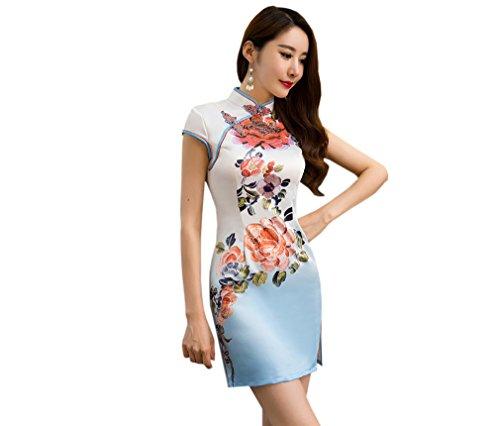 Avec Robe Femme Cheongsam Qipao Chinoise Imprimé Acvip Montant Court Col Fleur Traditionnel nXzRxAaq