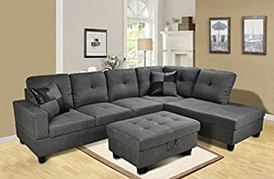 Beverly Furniture 3 Piece Microfiber and Faux Leather Upholstery Left-facing Sectional Sofa Set with Storage Ottoman, Gray