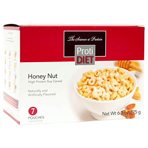 (ProtiDiet Cereal - Honey Nut Soy (7/Box) - High Protein 15g - Low Calorie - High Fiber 4g)
