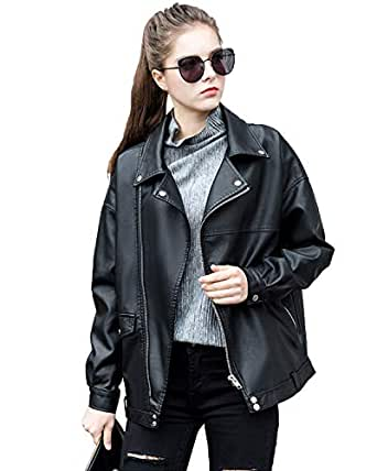 LY VAREY LIN Women Faux Leather Jacket Lapel Collar Motorcycle Zip Up Long Sleeve Motor Biker Short Coat Jacket - Black - Small