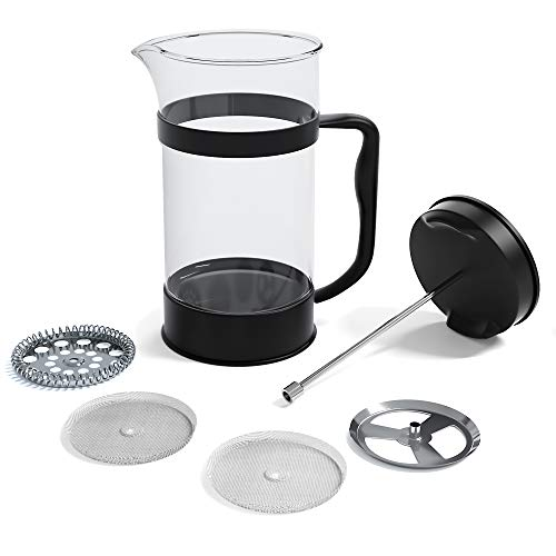 Utopia Kitchen French Coffee Press 34 Oz - 1000 ml - Espresso and Tea Maker with Triple Filters, Stainless Steel Plunger and Heat Resistant Borosilicate Glass - Black