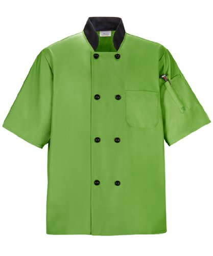 Apple 505 (Happy Chef Uniforms 505-APPLE/BK-3XL Lightweight Chef Coat, 3X-Large, Apple Green with Black Trim)