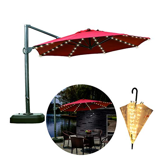 Areskey Umbrella Lights,Warm White 8x13 LED Starry Lights,Applies to Large Patio Table Umbrella,or Portable Umbrella,Bistro Pergola,Deckyard,Tents,Cafe,Garden,Travel,Beach,Party Decor (only Light) by Areskey