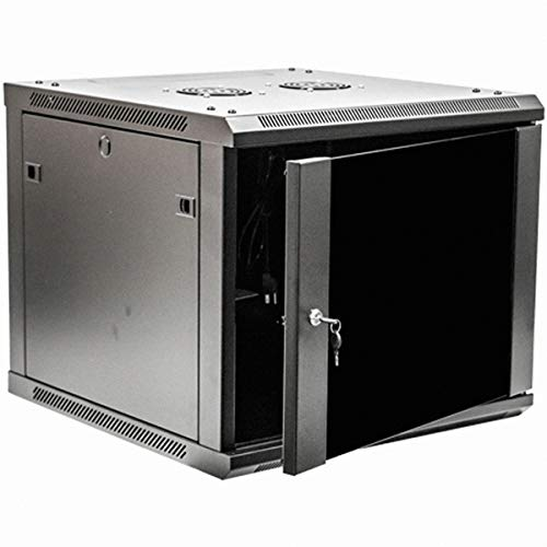 (NavePoint 9U Deluxe IT Wallmount Cabinet Enclosure 19-Inch Server Network Rack with Locking Glass Door 24-Inches Deep Black)