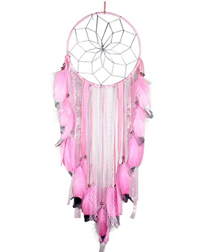 SUIBOBO Large Size Big Size Dream Catcher Handmade Traditional Pink Feather Silver Painting Silver net Wall Hanging Mordern Home Decoration (Pink-L)