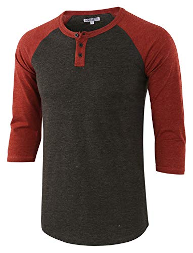 (HARBETH Men's Casual Fashion 3/4 Raglan Sleeve Active Baseball Henley Tee Shirt H.Charcoal/Rusty XXL)