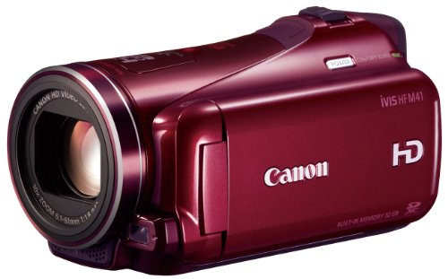 Canon デジタルビデオカメラ iVIS HF M41 レッド IVISHFM41RD 光学10倍 光学式手ブレ補正 内蔵メモリー32GBの商品画像