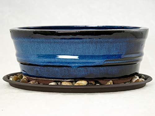 8 Oval Dark Blue Bonsai Cactus Succulent Pot Tray Rock Mesh Combo