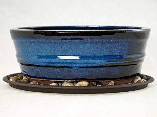 "8"" Oval Dark Blue Bonsai/Cactus & Succulent Pot + Tray + Rock + Mesh Combo"