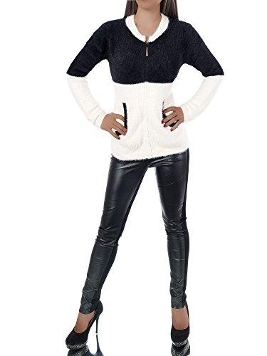 75721c894c26 Diva-Jeans L572 Damen Pullover Winter Pullover Pulli Sweatshirt Strick  Strickpullover Bluse Schwarz-weiß