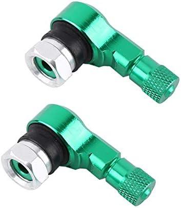 2pcs 11.3mm Rad-Reifen-Ventil-Stamm-Kappen, Universalmotorrad-Aluminiumlegierung 90 Grad(Grün)