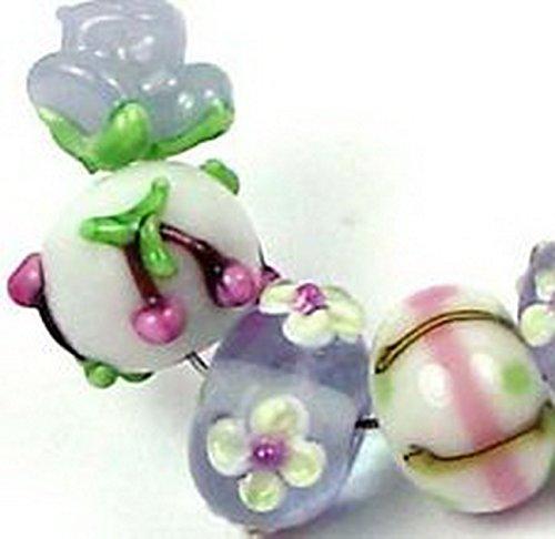 Magnolia Thong (Glamorise Beads #13054 Lampwork Handmade Lavender Magnolia Rose Floral Beads)