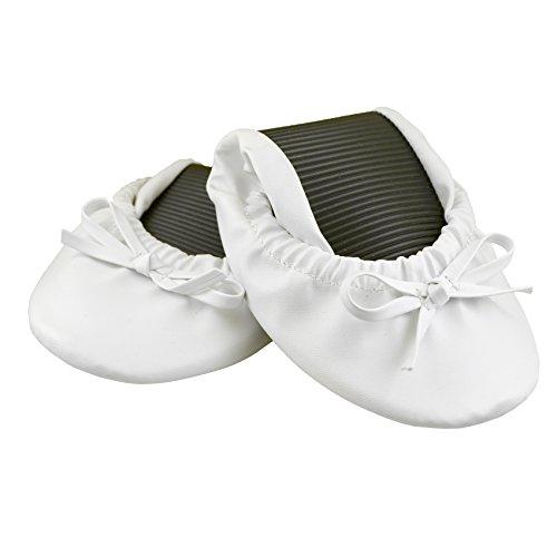 Solemates Purse Pals Faltbare Bowed Ballerinas mit erweiterbarer Tasche zum Tragen von Heels Weiß