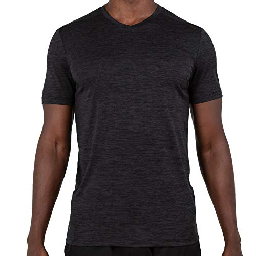 Rich Crewneck - Alive Men's Tee Shirt Active Quick Dry Workout Short Sleeve Shirts Crew Neck (Medium, Rich Black Heather)