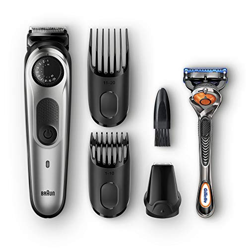 Braun Beard Trimmer & Hair Clipper, Detail Trimmer Attachment + 2 Combs + Fusion ProGlide Razor Included, BeardTrimmer BT5060, Cordless, Black/Silver