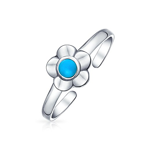 Flower Shape Stabilized Turquoise Accent Midi Thin Band Toe Ring For Women Oxidized 925 Silver Sterling Adjustable