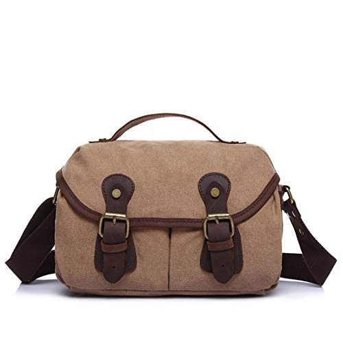 Simple Bandolera Colore Khaki Messenger Canvas Retro Zipper Lishihuan Briefcase Gris PdwOqqa
