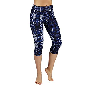 ODODOS by Power Flex Women's Tummy Control Workout Running Printed Capris Yoga Capris Pants With Hidden Pocket,Indigo, Medium