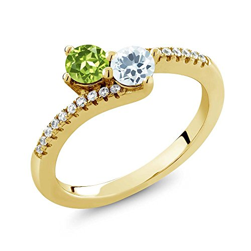 Gem Stone King 0.76 Ct Peridot Sky Blue Aquamarine 2 Stone 18K Yellow Gold Plated Silver Bypass Ring (Size 9)