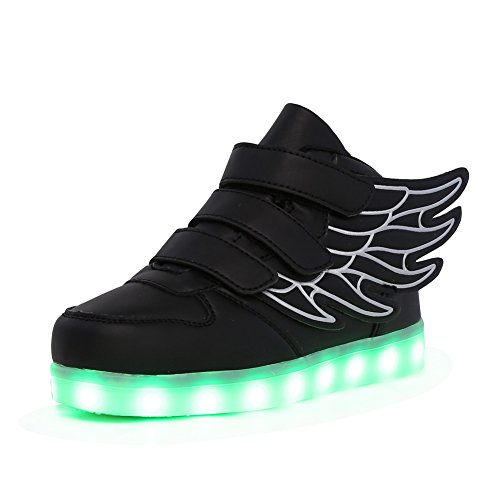 CIOR Kids Boy and Girl's 11 Color Wings Led Sneakers Light Up Flashing Shoes,102,01,29, 12 M US Little Kid, 02Black