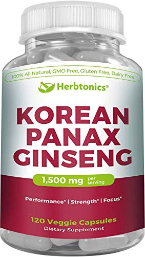 High Strength Korean Red Panax Ginseng 1500 mg-120 Vegetarian Capsules- with Ginsenosides to Improve Energy, Endurance and Mood. Ginseng/Gensing Capsules For Sale
